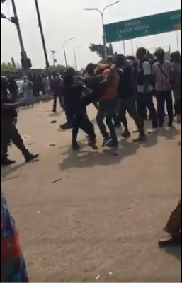 Lagos State Monitoring Task Force Arrest, Beat And Collect Okadas At VI