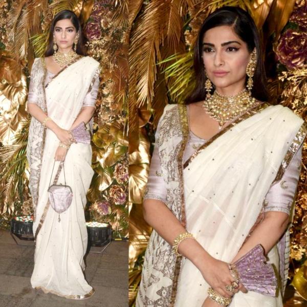 Sonam Kapoor White Georgette Saree
