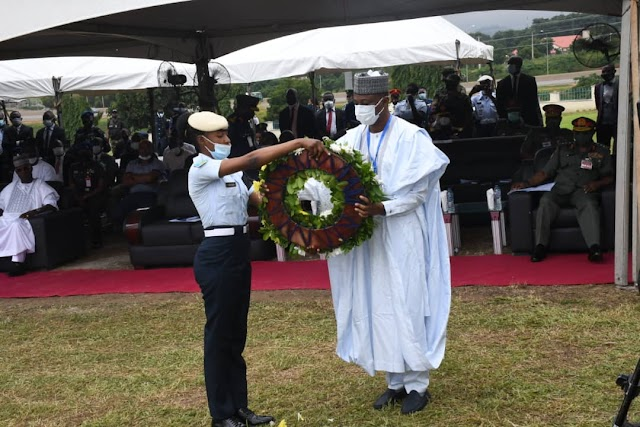 MINISTER OF DEFENCE, MAJ GEN BASHIR SALIHI MAGASHI (RTD )LEADS LAST PARADE FOR LATE FLYING OFFICER TOLULOPE AROTILE.