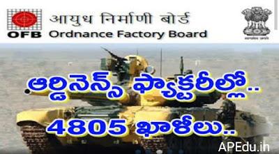 oFB Jobs: 4805 Vacancies in Ordinance Factories .. Details