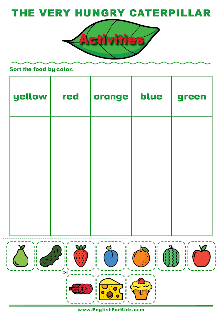 The Very Hungry Caterpillar activities to learn English colors