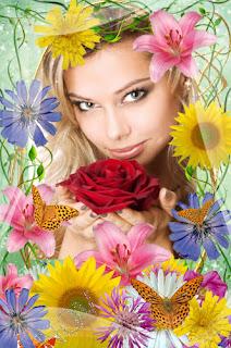 imagen dia primavera+mujer+flores