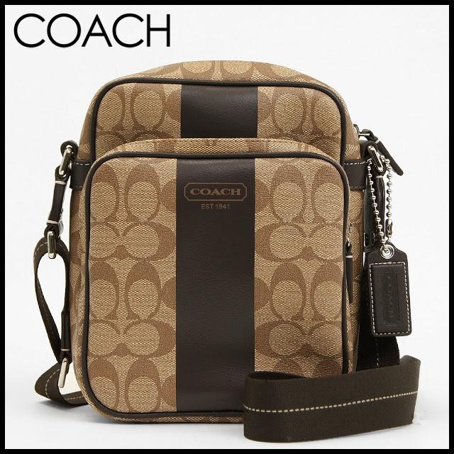 597e0172c906 usa coach men heritage stripe shoulder crossbody messenger flight bag  f70589 grey black mahogany 38b68 f6497