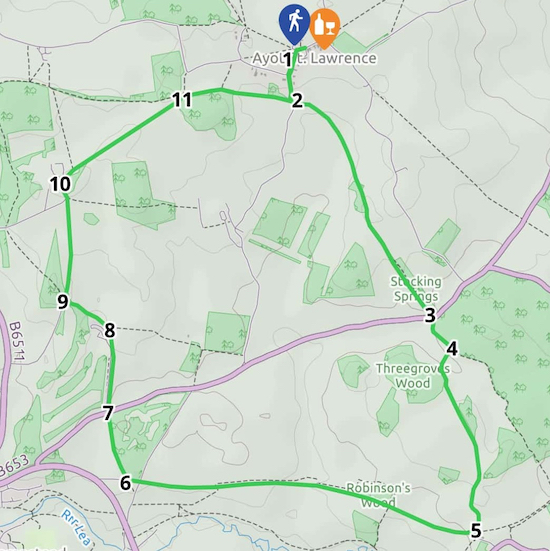 Map for Walk 94: Lamer Loop Created on Map Hub by Hertfordshire Walker Elements © Thunderforest © OpenStreetMap contributors Note: There is a larger, more detailed map embedded at the end of these directions