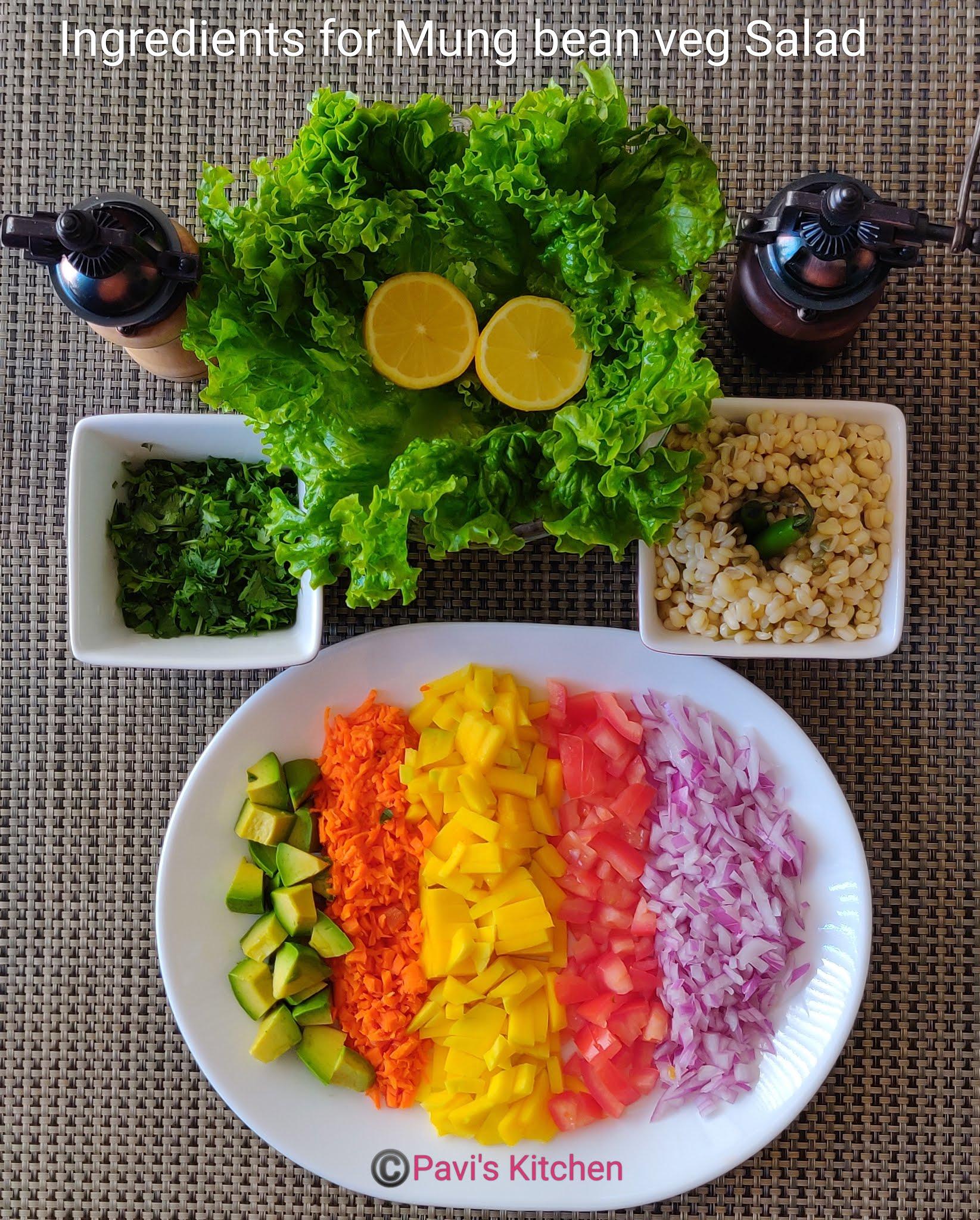 Lettuce salad recipe | Indian mung bean salad | Boiled moong dal salad
