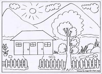 Gambar mewarnai rumah dan pemandangan
