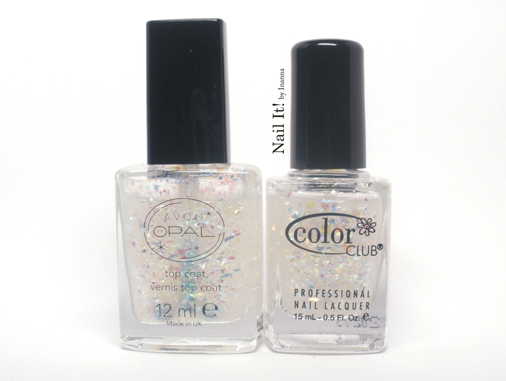 "Porównanie Avon Top Coat ,,Opalesce"" i Color Club ,,Cover In Diamonds"""