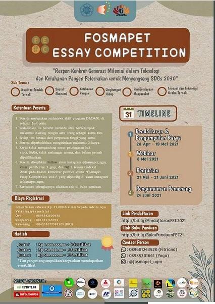 Fosmapet Essay Competition 2021 (Respon Konkret Generasi Milenial dalam Teknologi dan Ketahanan Pangan Peternakan untuk Menyongsong SDGs 2030)