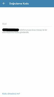 telegram sms doğrulamalası resmi