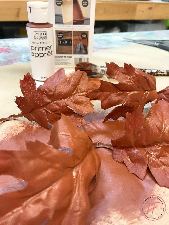 Burlap Decoupaged Pumpkin Leaves With Iron Primer