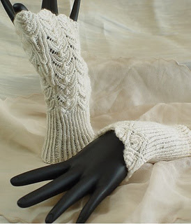 lacy hand knitted wedding gloves