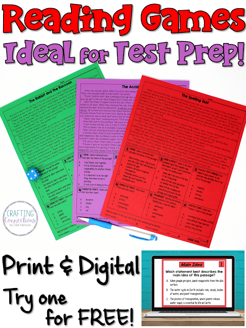 Make reading test prep meaningful and fun by using reading games! After reading a passage, students will answer 6 multiple choice questions and try to earn the lowest number of points. This blog post contains a FREE nonfiction reading passage and game! They are available in printable format and Google Slides format!
