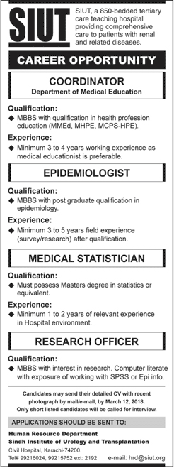 Jobs In Sindh Institute Of Urology And Transplantation Karachi 2018 for 5 Vacancies