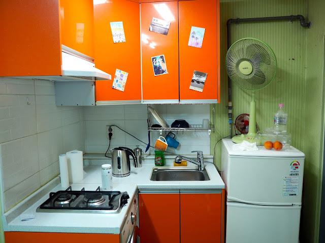 Kitchen area inside studio apartment in Busan, South Korea