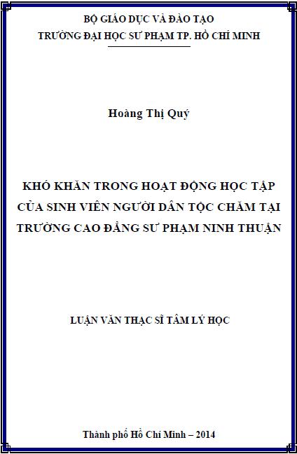 Khó khăn trong hoạt động học tập của sinh viên người dân tộc Chăm tại trường Cao đẳng Sư phạm Ninh Thuận