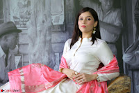 Mannara Chopra in Silky White Salwar Suit with Pink Chunni Latest Exclusive Pics March 2017 ~  003.JPG