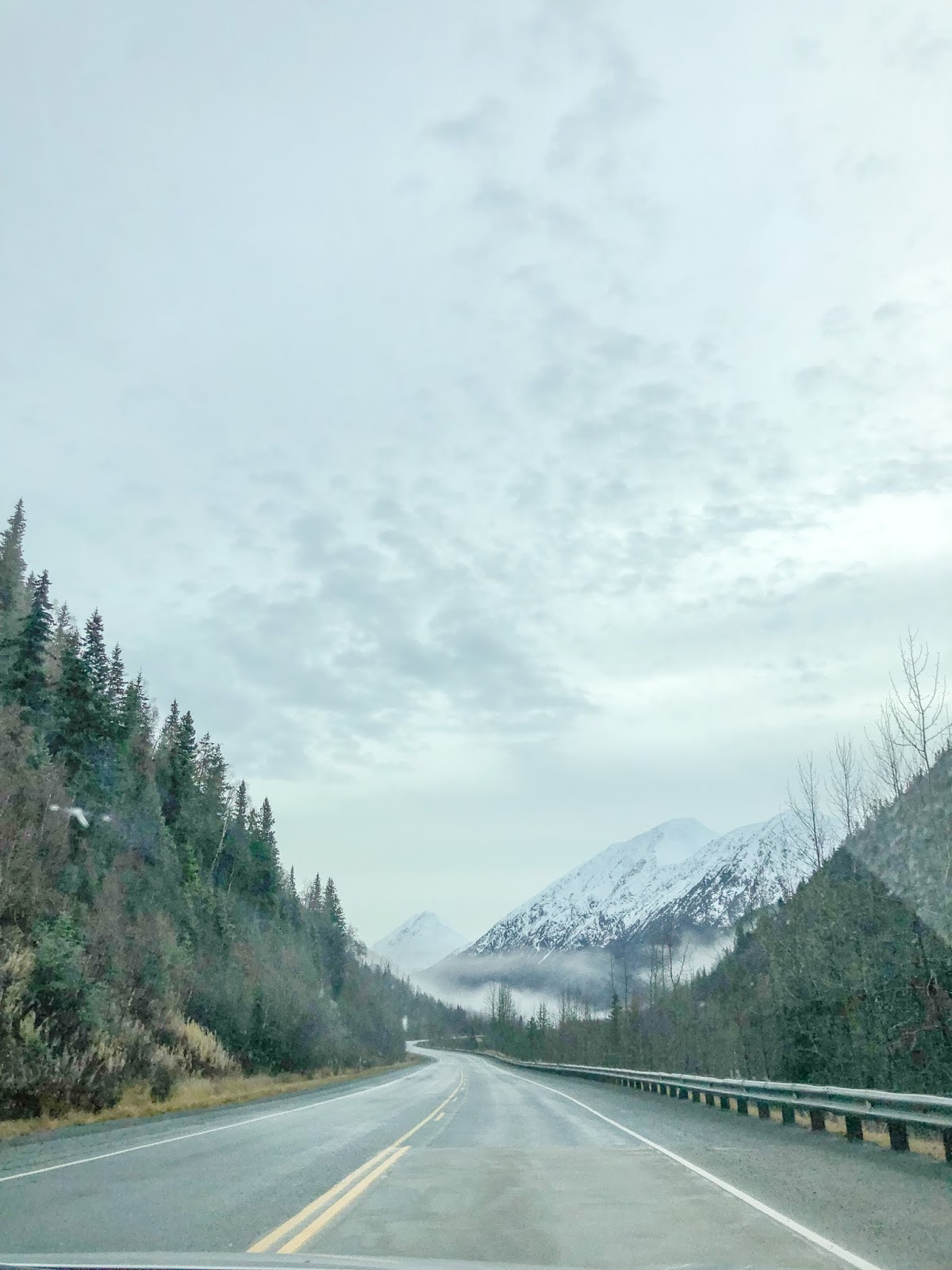 road trip along Seward Highway from Anchorage to Seward Alaska