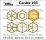 Set van 8 stansen voor verschillende zeshoeken. Set of 8 dies for different hexagons.