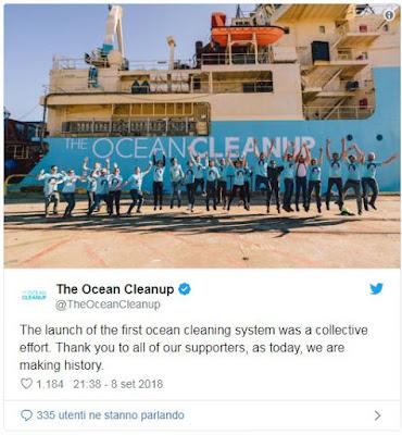 The Ocean Cleanup, l'organizzazione no profit olandese   che sviluppa tecnologie avanzate per liberare gli oceani   della plastica, ha lanciato oggi il primo sistema   di pulizia oceanica al mondo dalla Baia di San Francisco ...