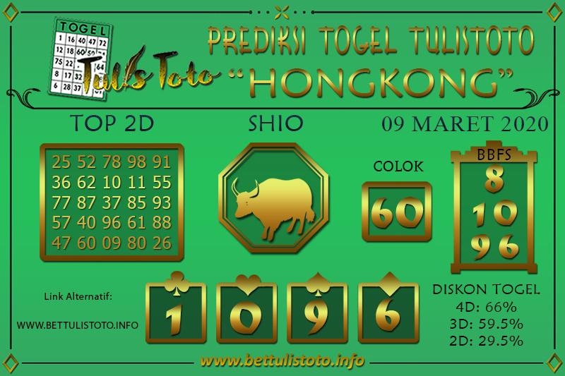 Prediksi Togel HONGKONG TULISTOTO 09 MARET 2020