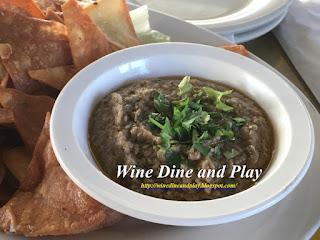 The black bean hummus special dish with pita bread at the Hooked Island Grill in Matlacha, Florida