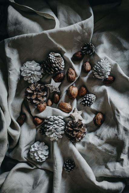 pine cones on grey dropcloth