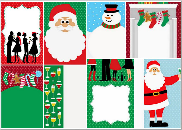 Free Printable Invitations, Cards or Papers for Christmas.