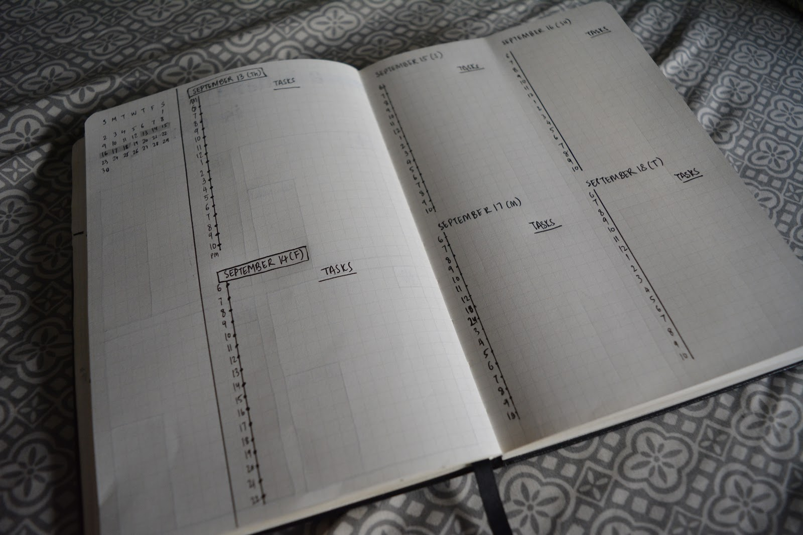 September 2018 Bullet Journal Spread Setup