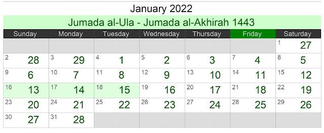 Kalender Hijriah Bulan Januari 2021 Lengap Jadwal Puasa