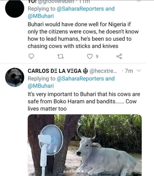"""Nigerians react to video of President Buhari visiting his cows hours after students were abducted in Katsina state"""