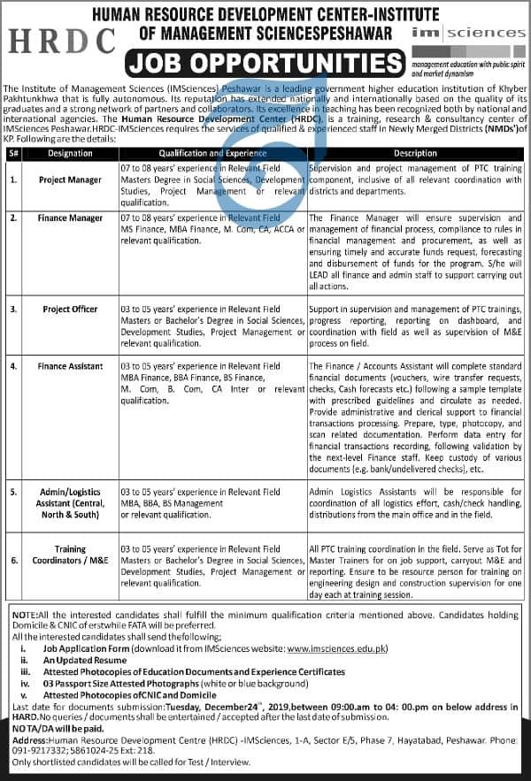 Jobs in Institute of Management Sciences IMS Peshawar  2019