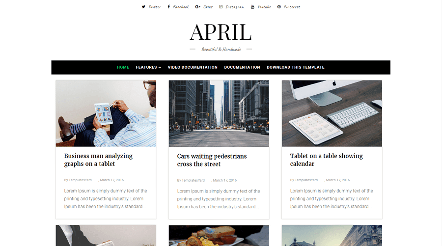 April - Responsive Minimal Grid Blogger Template