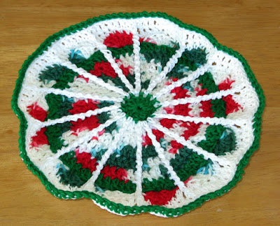 Red Green and White Spoke Mandala - Made in Honor of Marinke Based on Her Pattern - By RSS Designs In Fiber - Donated
