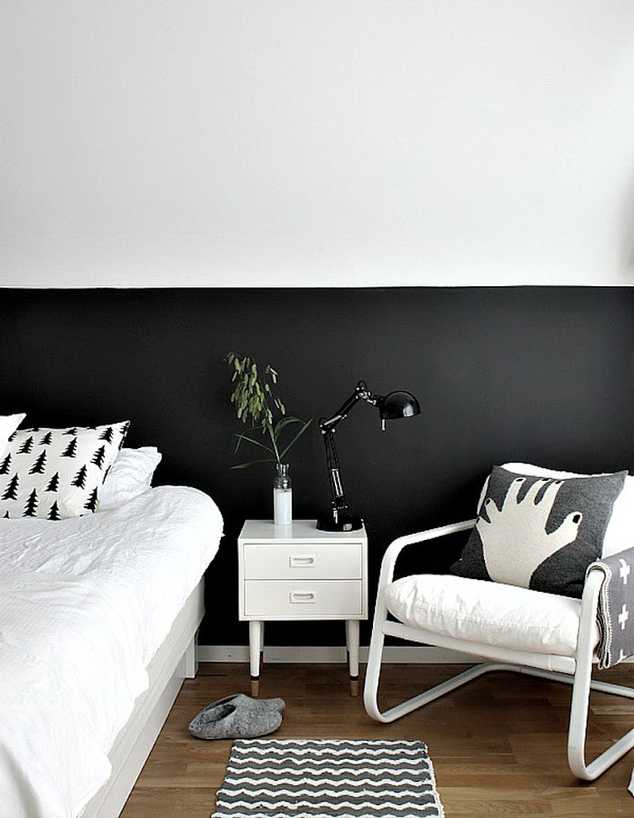 decoración dormitorio nórdico pared blanco y negro