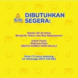 Info Lowongan Kerja Restoran ChuGa Jakarta