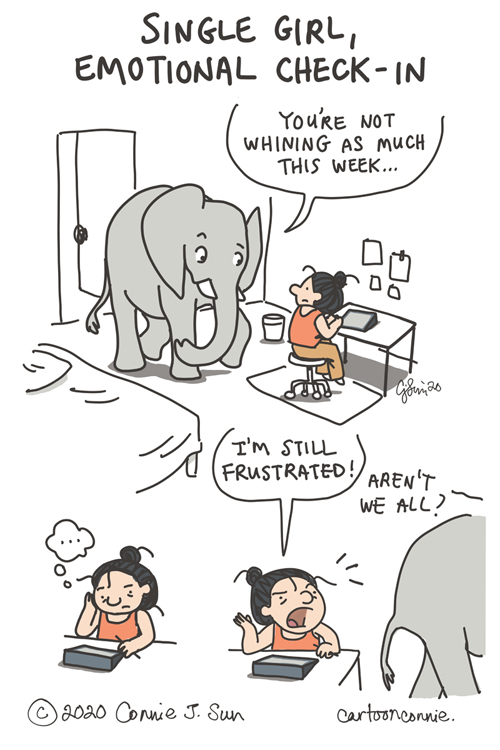 elephant, comic strip, illustration, humor, comics, sketchbook, drawing, by connie sun, cartoonconnie