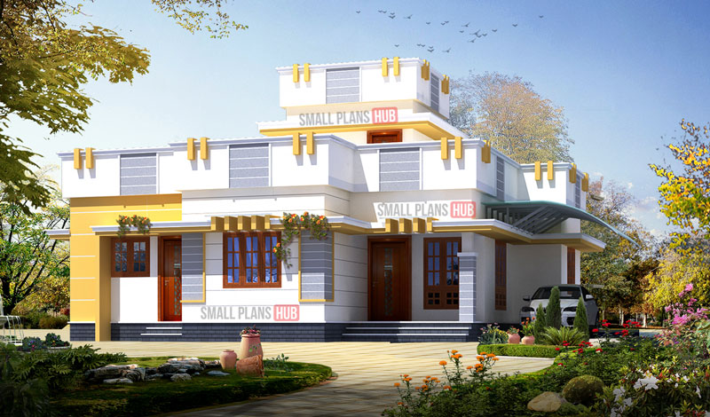 Kerala Style Three Bedroom Single Floor House Plans Under 1300 Sq Ft Total Four House Plans With Elevation Small Plans Hub
