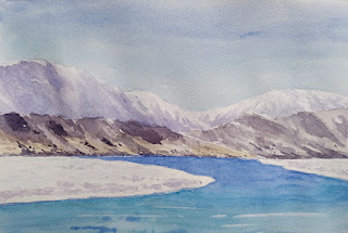 A water colour painting of Gurudongmar Lake in North Sikkim