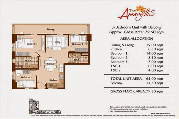 The Amaryllis 3 Bedroom Unit - 79.50 sqm