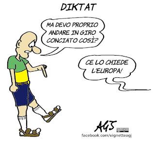 Savona, europa , germania, sandali con i calzini, diktat, ministero dell'economia, vignetta, satira