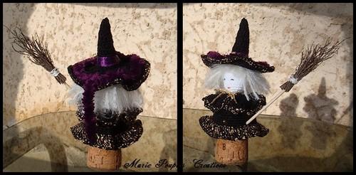 Buste Sorcière poupée Halloween cache bouchon