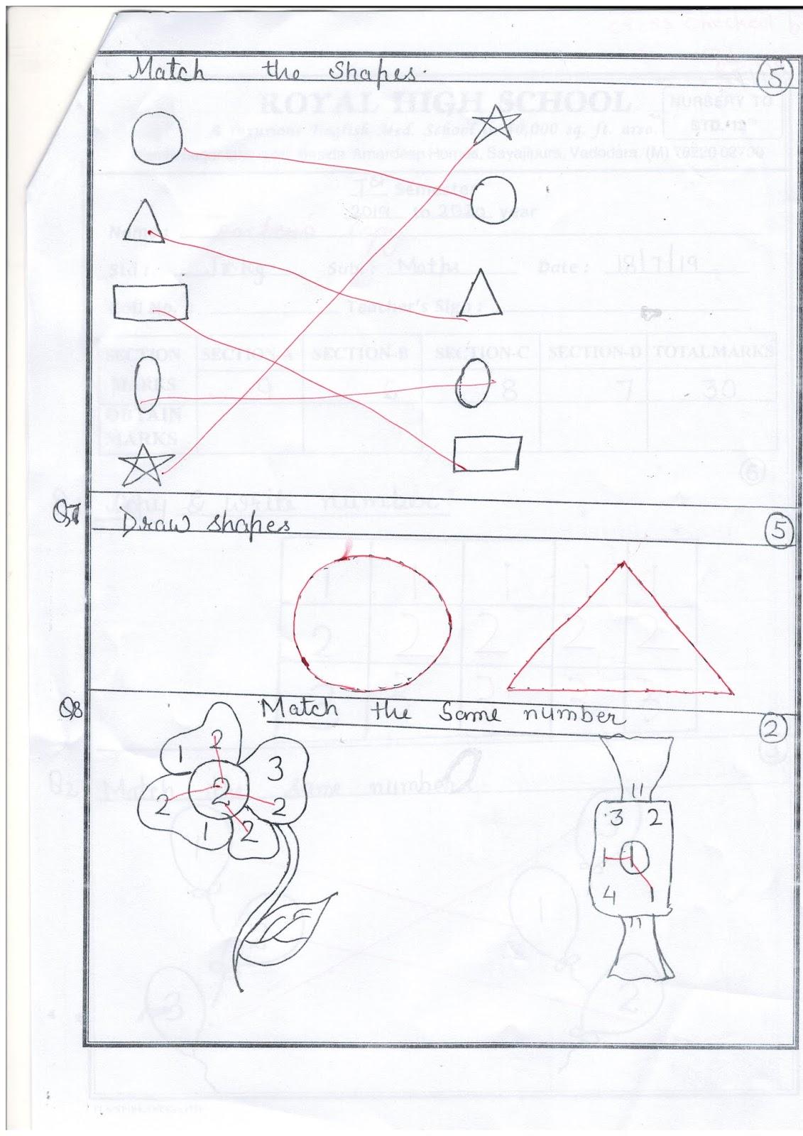 Jr Kg Unit Test Paper Maths 18 07
