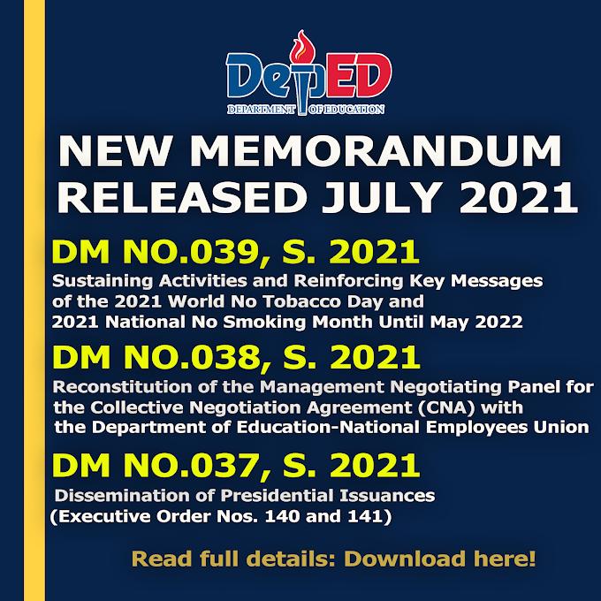 Download 3 New DepEd Memorandum Released July 2021