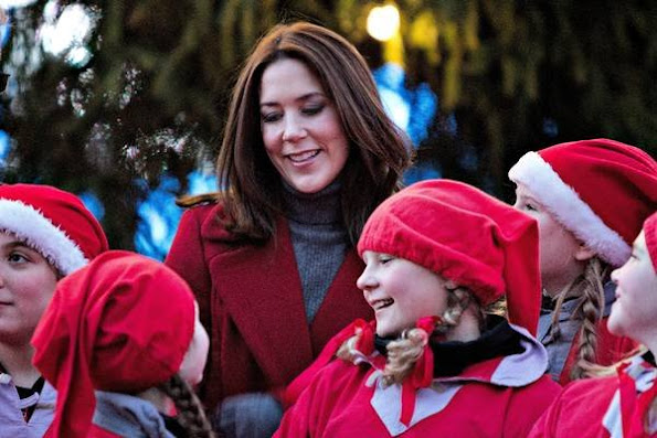 Crown Princess Mary of Denmark leads the lighting of Christmas tree in the 100th year of the tree lighting ceremony at Copenhagen City Hall Square (Rådhuspladsen) in Copenhagen