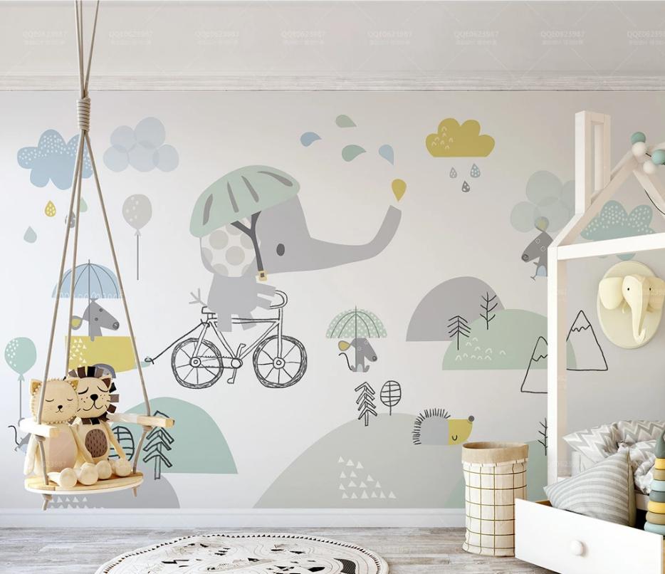 Tranh Dán Tường Phòng Ngủ Trẻ Em - Tranh chú voi đáng yêu