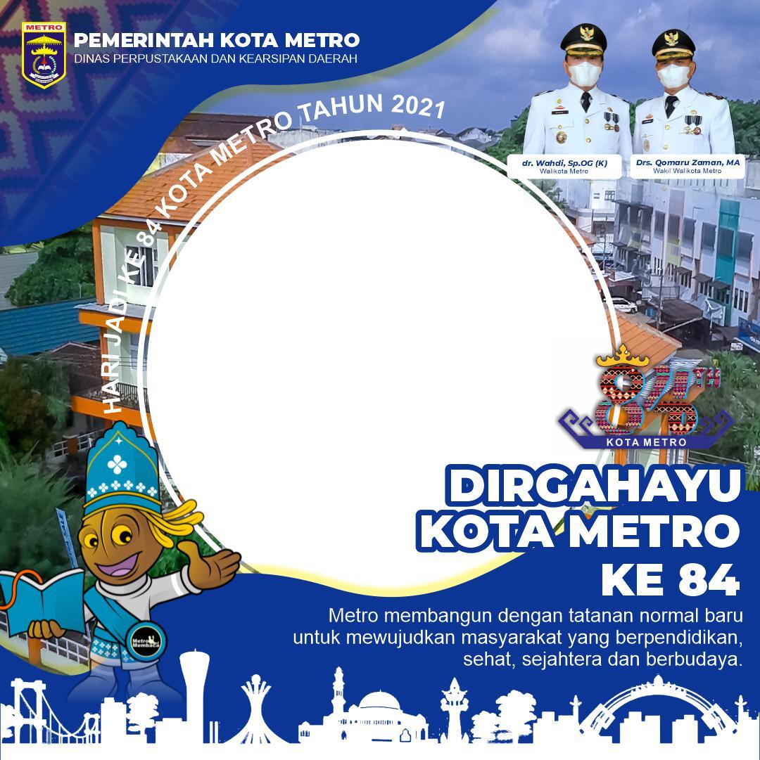 Desain Frame atau Bingkai Twibbon Hari Ulang Tahun (HUT) Kota Metro 2021 - Twibbonize