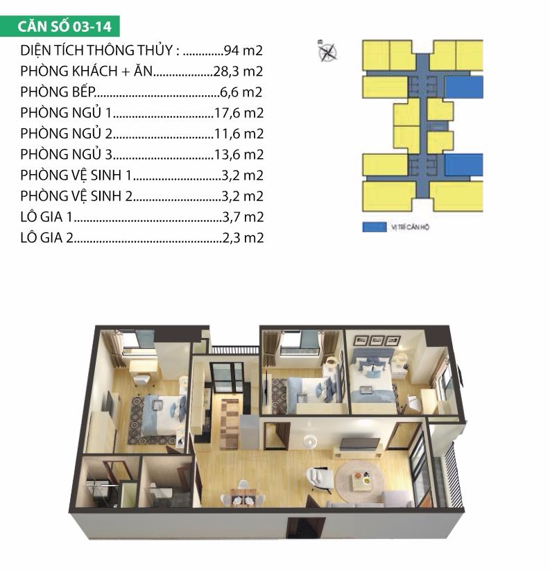 Thiết kế căn hộ 03-14 chung cư Housinco Premium