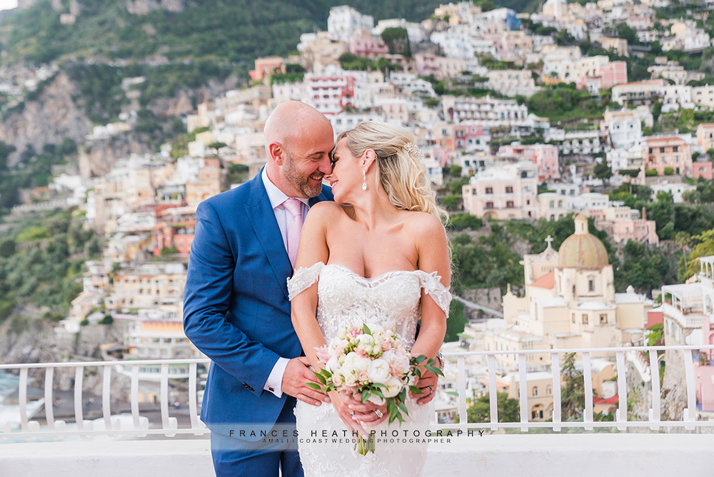 Bride and groom on Hotel Marincanto terrace in Positano