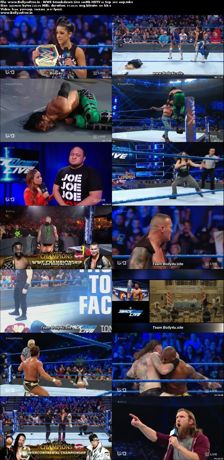 WWE Smackdown Live 300Mb HDTV 03 Sep 2019 480p