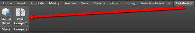 Compare DWGs in Civil 3D in Collaborate ribbon tab